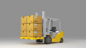 Forklift truck with boxes on pallet. Cargo. 3d Royalty Free Stock Photo
