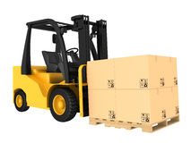 Forklift truck with boxes on pallet Stock Image