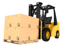 Forklift truck with boxes on pallet Stock Images