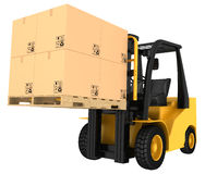 Forklift truck with boxes on pallet Royalty Free Stock Photos