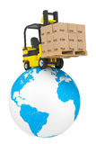 Forklift truck with boxes and pallet over Earth Globe Royalty Free Stock Photos