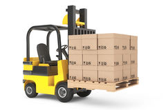 Forklift truck with boxes and pallet Stock Photography