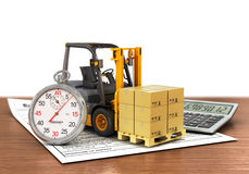 Forklift truck with boxes and stopwatch. Royalty Free Stock Images