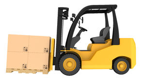 Forklift truck with boxes on wooden pallet Stock Photography