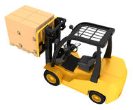 Forklift truck with boxes on wooden pallet Royalty Free Stock Image