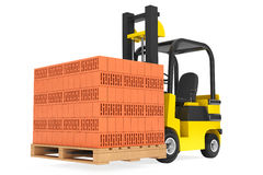 Forklift Truck with Bricks over pallet Stock Photos