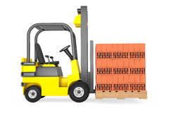 Forklift Truck with Bricks over pallet Royalty Free Stock Images