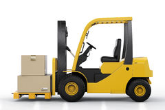 Forklift truck with cardboard boxes. 3d rendering forklift truck with cardboard boxes Stock Image