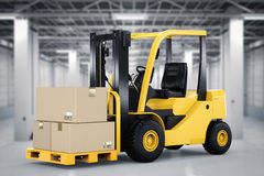 Forklift truck with cardboard boxes. 3d rendering forklift truck with cardboard boxes in factory Stock Photo