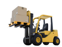 Forklift truck with cardboard boxes. 3d rendering forklift truck with cardboard boxes isoalted on white Stock Photo