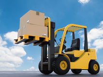 Forklift truck with cardboard boxes. 3d rendering forklift truck lifting with cardboard boxes Royalty Free Stock Photography