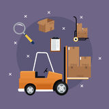 Forklift truck cardboard boxes icons delivery concept purple background Royalty Free Stock Photo