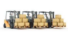 Forklift truck with cardboard boxes Stock Photos