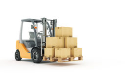 Forklift truck with cardboard boxes Royalty Free Stock Images
