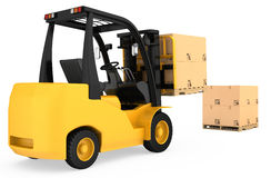 Forklift truck with cardboard boxes on wooden Stock Images