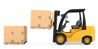 Forklift truck with cardboard boxes on wooden Royalty Free Stock Images