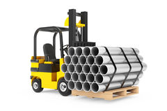 Forklift Truck Carry Stack of Metal Pipes. 3d Rendering Royalty Free Stock Photography