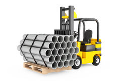 Forklift Truck Carry Stack of Metal Pipes. 3d Rendering Stock Photos