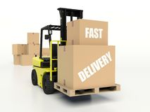 Forklift truck carrying boxes, Fast Delivery Stock Image