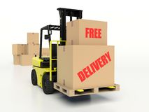 Forklift truck carrying boxes, Free Delivery Stock Photography