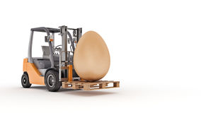 Forklift truck carrying a Easter egg. Royalty Free Stock Images