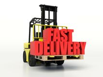 Forklift truck carrying Fast Delivery words. Royalty Free Stock Photos