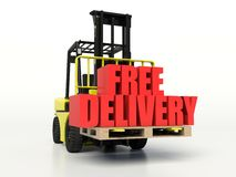 Forklift truck carrying Free Delivery words. Stock Photo