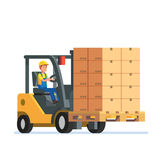 Forklift truck carrying a stacked boxes pallet. Forklift truck carrying a stacked goods boxes pallet. Modern flat style vector illustration isolated on white Stock Photo