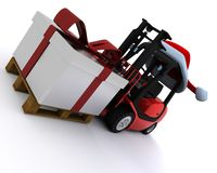 Forklift truck with christmas gift box Stock Photos