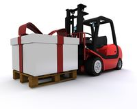 Forklift truck with christmas gift box Royalty Free Stock Images