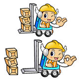 The forklift truck in Construction worker Character is OK gestur Royalty Free Stock Images