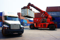 Forklift truck, container, trailer,Vietnam depot Royalty Free Stock Images