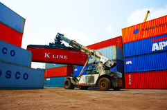 Forklift truck, container, Vietnam freight depot Royalty Free Stock Images