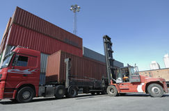 Forklift, truck and containers Stock Images