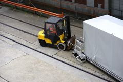 Forklift truck and covered gangway Royalty Free Stock Images