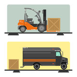 Forklift Truck. Delivery Van. Logistics Industry. Heavy Transportation Stock Photo