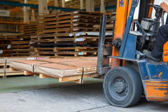 Forklift truck. At the factory stock image