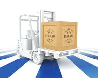 Forklift Truck with Finland Flag Color. Made in Finland. 3d Rendering Stock Photography
