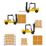 Forklift truck in flat style. Carton and wooden box. Stock Image