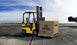 Forklift truck with Free Shipping Box Stock Images