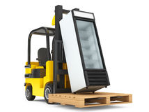 Forklift truck with Fridge Drink and pallet Royalty Free Stock Photography