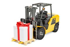 Forklift truck with gift box. Gift delivery concept, 3D renderin. G isolated on white background Stock Images