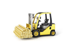 Forklift truck holding wood beams Stock Photos