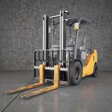 Forklift truck on industrial dirty wall background Royalty Free Stock Image