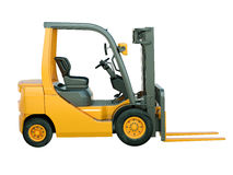 Forklift truck isolated. Modern forklift truck isolated on white background stock photo