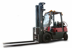 Forklift truck isolated. Modern forklift truck isolated over white background stock image