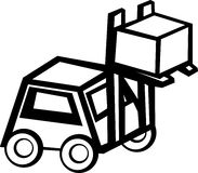 Forklift truck lifting a box vector illustration Stock Photo