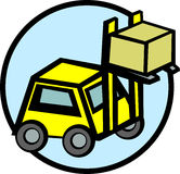 Forklift truck lifting a box vector illustration Royalty Free Stock Photo