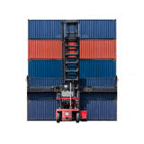 Forklift truck lifting cargo shipping containers Stock Photos