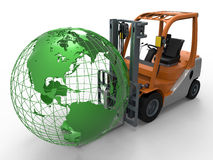 Forklift truck lifting earth globe Royalty Free Stock Photos